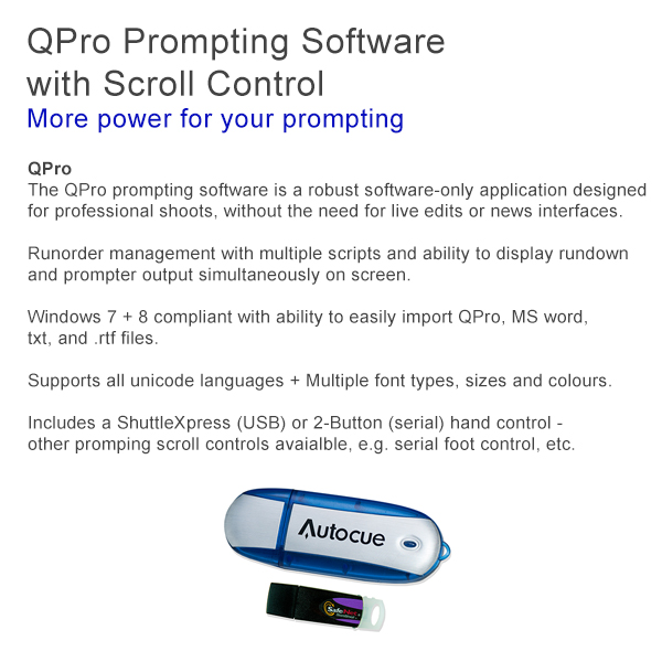 Autocue QPro Software